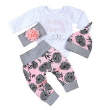 Newborn Baby Girls Outfit Clothes Romper Jumpsuit Pants Hat Headband Summer