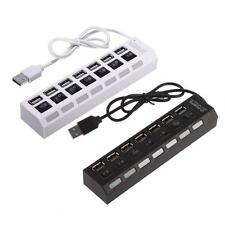 7-Port USB 2.0 Multi Charger Hub +High Speed Adapter ON/OFF Switch Laptop PC GA