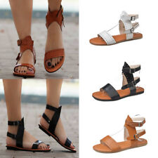 Women Ladies Ankle Strap Flat Sandals Gladiator Summer Beach Casual Bcukle Shoes