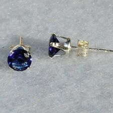 Serene: 5mm, 1.0ct simulated Ceylon Sapphire Stud Earrings 925 Silver