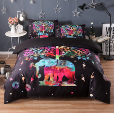 New Bedding Set Queen/Double/King Quilt Duvet Cover Set Indian Elephant Tree