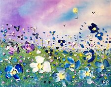 Stormy meadow flowers in love, original oil painting on canvas, by Phil Broad