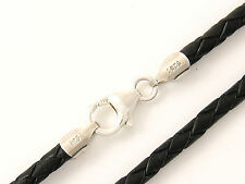 "3mm Black Briaded Bolo Leather Cord Necklace 925 sterling Silver Clasp 14"" - 36"""