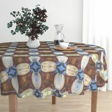 Round Tablecloth Cathedral Church Religious Christian Mirrored Cotton Sateen