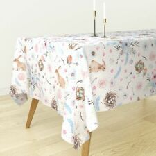 Tablecloth Blue Watercolor Easter Bunnies Easter Bunnies Light Cotton Sateen