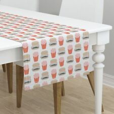 Table Runner Burger Hamburger Cheeseburger French Fries Fast Food Cotton Sateen