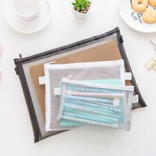 Clear Exam Pencil Case Transparent Simple Mesh Zipper Stationery Bag School MB