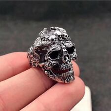 Gothic Men's Stainless Steel Silver Fashion Punk Skull Finger Rings Jewelry Gift