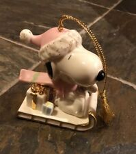 Lenox Peanuts Snoopy Sledding Adventure 2002 Holiday Collectible Ornament