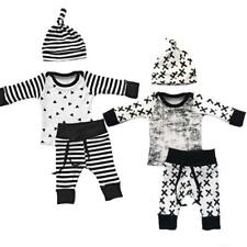 3PCS Infant Unisex Baby Long Sleeves Tops Long Pants Hat Toddlers Casual Outfits