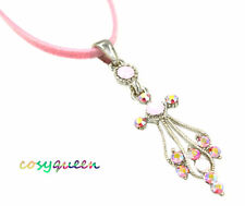 Swarovski Elements Crystal New Pink Rose Angel Cross Pendant Necklace Gift