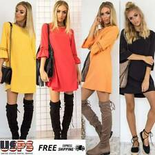 Women's Crew Neck Lace Stitching Long Sleeve Loose Short Mini Dress Tunic Shirt