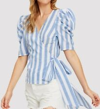 Puff Top Stripe Tie Wrapped Sleeves Bow Shirts Blouses Blue White Summer New