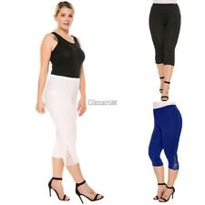 Women Casual Lace Solid Natural Elastic Waist Cropped Pants OK