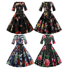 Cheap Vintage 50s 60s Style Rockabilly Pinup Belt Floral Print Party Swing Dress