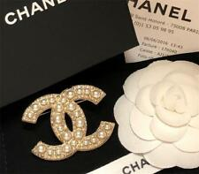 Chanel XL Classic CC Pearl Crystal Jewel Gold Pin Brooch NIB Receipt