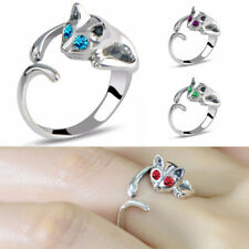 1PC Crystal Eyes Cat Open Ring Adjustable Ring Women Fashion Jewelry Silver Gold