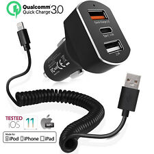 Quick Charge 3.0 In Car Charger 3 Ports USB QC Fast Charging Adapter For iPhone
