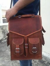 Mens Vintage Genuine Leather Laptop Back pack Rucksack Messenger Bag Satchel NEW