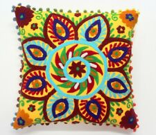 "INDIAN HANDMADE SUZANI CUSHION COVER 16"" HOME DECOR PILLOW EMBROIDERED VINTAGE03"