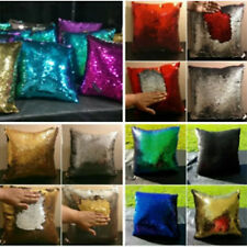 17 Color Reversible Mermaid Pillow Sequin Cover Glitter Sofa Cushion Case Double