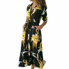 Women Floral Printed V-neck Button Pockets Turn-down Collar Long Shirt Dress