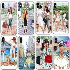 Phone Case Fashion Coffee Girl Paris New York Shopping Travel Relax For iPhone