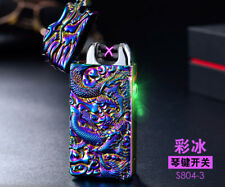Dual Arc Electric USB Lighter Rechargeable Windproof Flameless cameo dragon gift