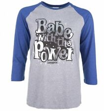 Official Women's Labyrinth Babe With The Power Heather Grey And Indigo Raglan Ba