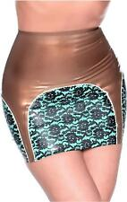Bordelle-L'Amour Latex Suspender Skirt Pearl Sheen Gold with Mint Green Trim.