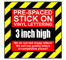 11 Characters 3 inch 75mm high pre-spaced stick on vinyl letters & numbers
