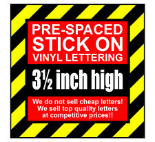 10 Characters 3.5 inch 89mm high pre-spaced stick on vinyl letters & numbers
