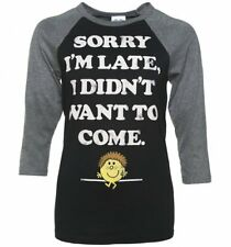 Official Little Miss Late Sorry I'm Late Black and Grey Raglan Baseball T-Shirt