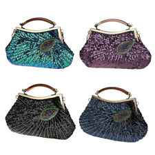 Vintage Shiny Beaded Sequin Peacock Clutch Purse Evening Handbags for Ladies
