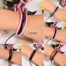 Unisex  Braided Multilayer Artificial Leather Wax Rope Cuff Bracelet LM 02