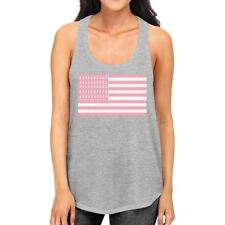 Breast Cancer Awareness Pink Flag Womens Grey Tank Top