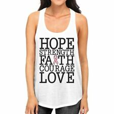 Hope Strength Faith Courage Love Breast Cancer Womens White Tank Top
