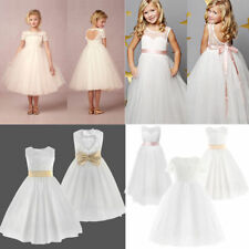 Flower Girl Lace Dress Bridesmaid Wedding Party Formal Communion Dress Ball Gown