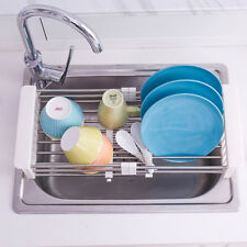 Adjustable Kitchen Over the Sink Dish Drainer Stainless Steel Bowl Drying Rack