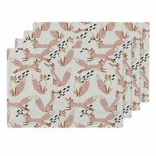 Cloth Placemats Blush Fox Animal Nursery Baby Pink Holli Zollinger Set of 4
