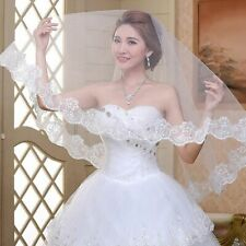 Ivory White Wedding Veil One Layer Lace Edge Long Elegant Bridal Accessory Gift