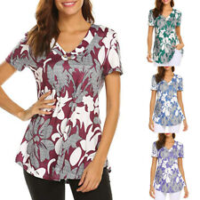Women Summer Tunic Tops Short Sleeve Floral Blouse Casual Plus Size T Shirt Tee