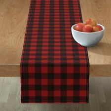Table Runner Woodsman Plaid Checkered Buffalo Red Boxes Shapes Cotton Sateen