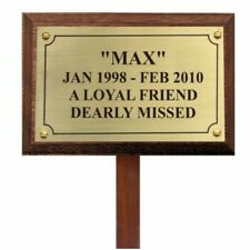 Pet Memorial Rectangular plaque brass with stake