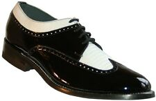 Mens Black and White Wingtip Vintage style Spectator Classic Dress Shoes