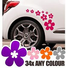 34 Daisy Stickers Kit Flower Car Wall VW Saxo Mini Beetle DS3 Camper Decal Vinyl