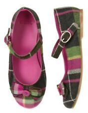 GYMBOREE MERRY & BRIGHT PLAID BUTTON BOW FLAT SHOES 9 10 11 12 13 NWT