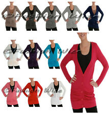 Ladies Stretch Long Sleeve Cardigan Top Womens Pink Red White Black Grey Peach
