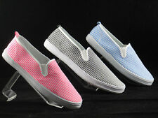 Raben Canvas Shoes Slip On - Black Pink Blue Stripe Pattern - Size From 30 To 46
