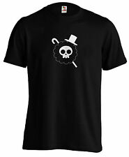 Brook Flag T-Shirt One Piece T Skeleton Tee Pirate King Straw Hat Luffy Manga